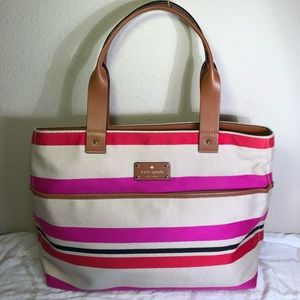 Kate Spade Oak Island Striped Canvas Tote Bag